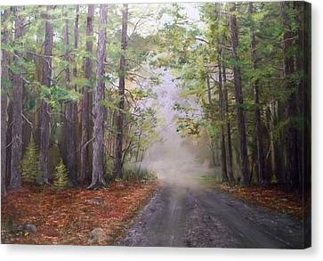 Canvas Print featuring the painting Misty Morning Road by Ken Ahlering