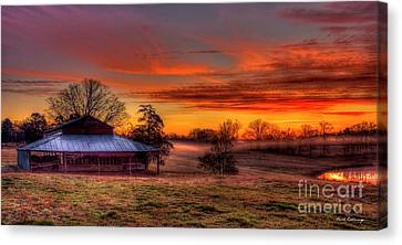 Misty Morning Sunrise Walker Church Road Canvas Print by Reid Callaway