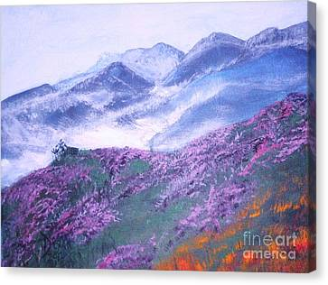Canvas Print featuring the painting Misty Mountain Hop by Donna Dixon