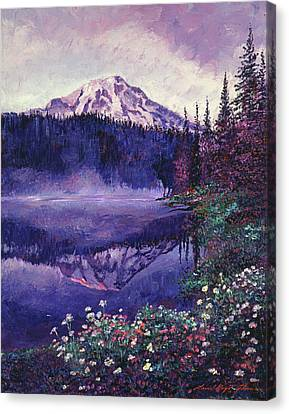 Misty Mountain Lake Canvas Print by David Lloyd Glover
