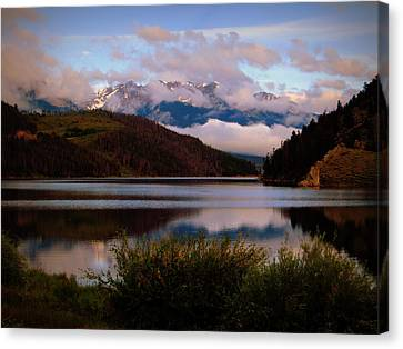 Canvas Print featuring the photograph Misty Mountain Morning by Karen Shackles