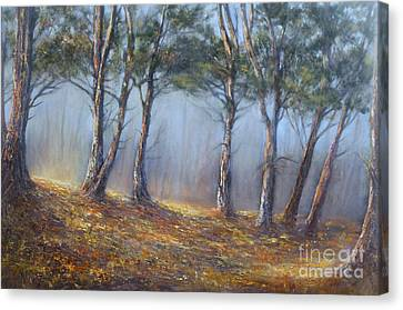 Misty Pines Canvas Print by Valerie Travers