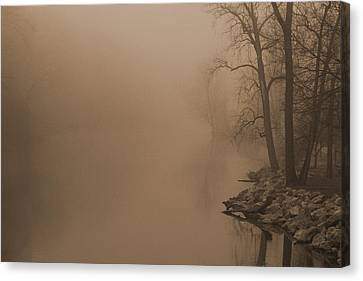 Misty River - Vintage  Canvas Print