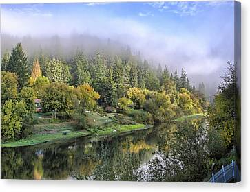Misty Russian River Canvas Print by Peter Dyke