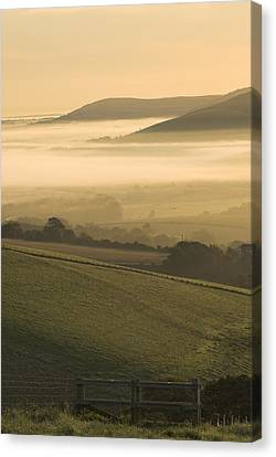 Misty South Downs Canvas Print by Hazy Apple