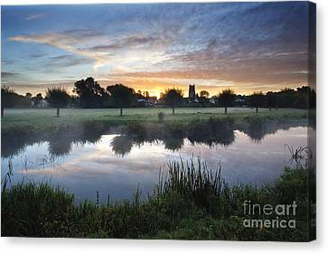 Misty Sunrise At Sudbury Water Meadows Canvas Print