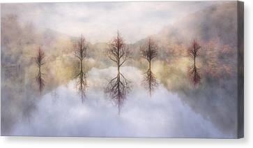 Mysterious Sunset Canvas Print - Misty Sunrise by Debra and Dave Vanderlaan
