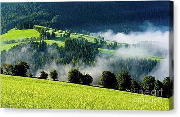 Misty Valley In Austria Canvas Print