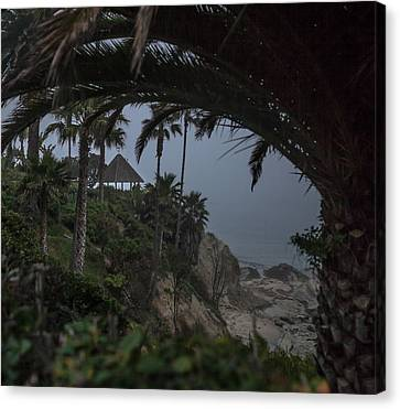 Canvas Print featuring the photograph Misty View Of Gazebo Along Heisler Park by Cliff Wassmann