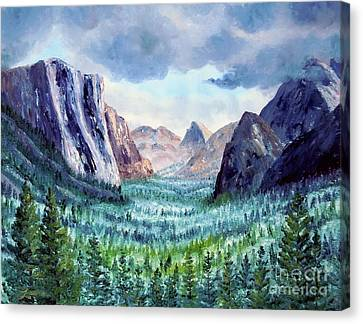 Misty Yosemite Valley Canvas Print by Laura Iverson