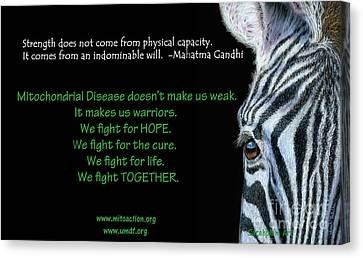 Mito Awareness Zebra Canvas Print by Sarah Batalka