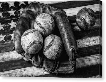 Mitt With Three Balls Black And White Canvas Print by Garry Gay