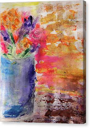 Canvas Print featuring the mixed media Mixed Bouquet by Lisa McKinney