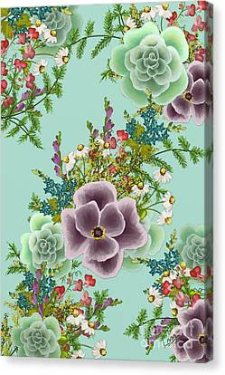 Mixed Floral On Light Blue Canvas Print