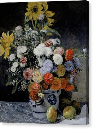 Mixed Flowers In An Earthenware Pot Canvas Print by Auguste Renoir