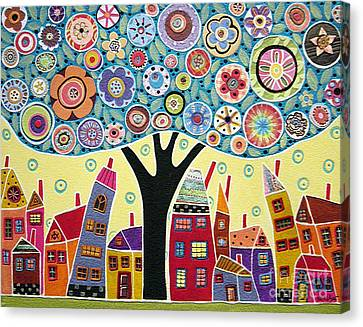 Mixed Media Collage Tree And Houses Canvas Print by Karla Gerard