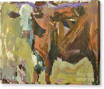 Canvas Print featuring the painting Mixed Media Cow Painting by Robert Joyner