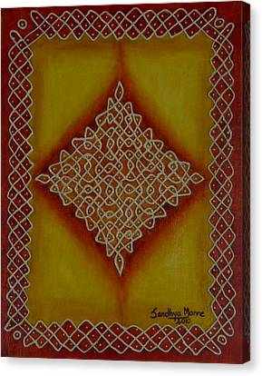 Mixed Media Kolam Four Canvas Print by Sandhya Manne