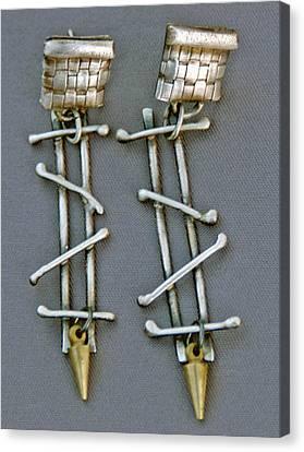 Mixed Metal Earrings Canvas Print by Mirinda Kossoff