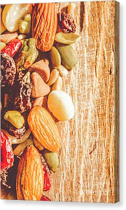 Mixed Nuts On Wooden Background Canvas Print by Jorgo Photography - Wall Art Gallery