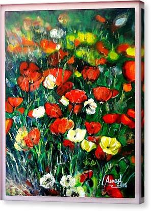 Canvas Print featuring the painting Mixed Puppies  by Laila Awad Jamaleldin