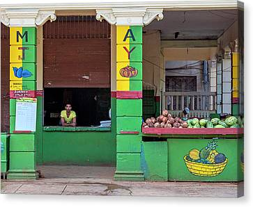 Canvas Print featuring the photograph Mjay Fruit Stand Havana Cuba by Charles Harden