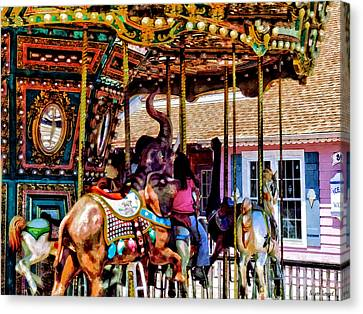 Merry Go Round With Elephants Canvas Print by Susan Savad