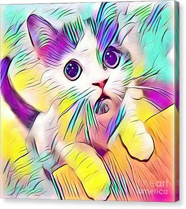 Mo' Milk Please - Kitty Rainbow Canvas Print
