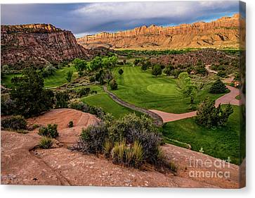Moab Desert Canyon Golf Course At Sunrise Canvas Print by Gary Whitton
