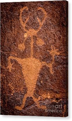 Moab Man Petroglyph Portrait - Utah Canvas Print by Gary Whitton