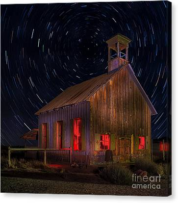 Moab Schoolhouse Star Trails Canvas Print by Jerry Fornarotto