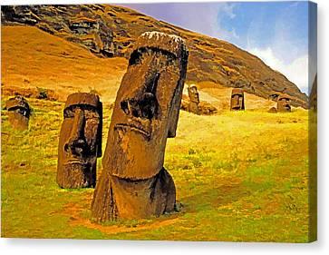 Moai Canvas Print by Dennis Cox