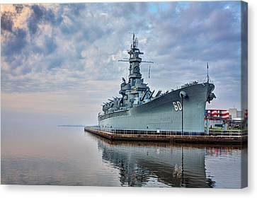 Mobile Bay And The Uss Alabama Canvas Print