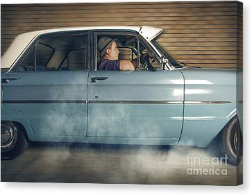 Drag Racing Canvas Print - Mobster Man From 1950 Driving Getaway Car by Jorgo Photography - Wall Art Gallery