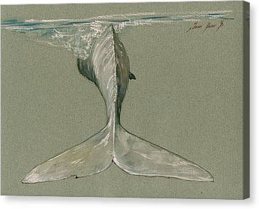 Whale Canvas Print - Moby Dick The White Sperm Whale  by Juan  Bosco