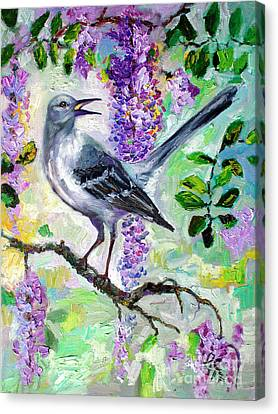 Mockingbird Canvas Print - Mockingbird Song In Wisteria by Ginette Callaway