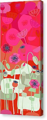 Mod Red Poppies Canvas Print by CR Leyland