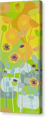 Mod Yellow Poppies Canvas Print by CR Leyland