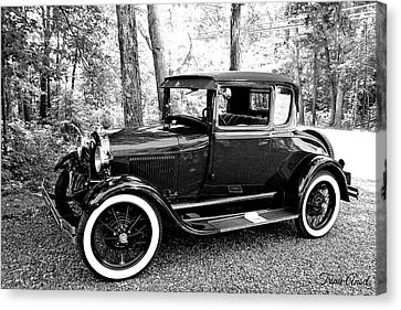 Canvas Print featuring the photograph Model A In Black And White by Trina Ansel