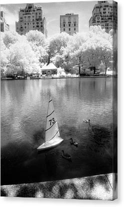 Canvas Print featuring the photograph Model Boat Lake Central Park by Dave Beckerman