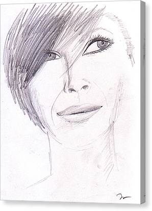 Face Canvas Print - Model Posing by M Valeriano
