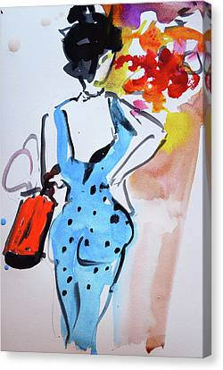 Model With Flowers And Red Handbag Canvas Print
