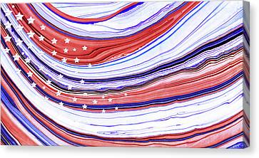 Fourth Of July Canvas Print - Modern American Flag - Red White And Blue - Sharon Cummings by Sharon Cummings