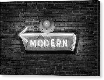 Modern Arrow Neon Sign On Brick Wall - Black And White Canvas Print by Gregory Ballos