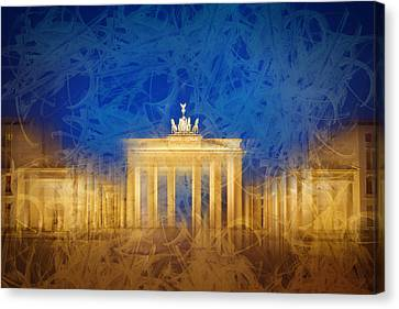 Modern Art Berlin Brandenburg Gate Canvas Print by Melanie Viola