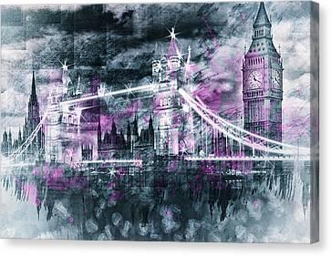Modern-art London Tower Bridge And Big Ben Composing  Canvas Print by Melanie Viola