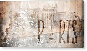 Modern Art Paris Collage Canvas Print by Melanie Viola