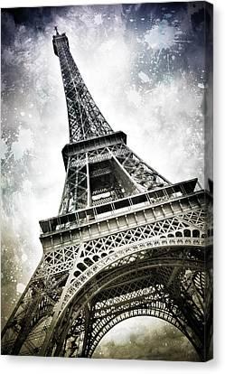 Modern-art Paris Eiffel Tower Splashes Canvas Print by Melanie Viola