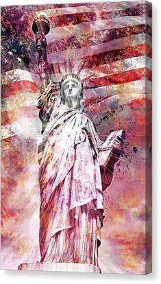 Modern-art Statue Of Liberty - Red Canvas Print by Melanie Viola