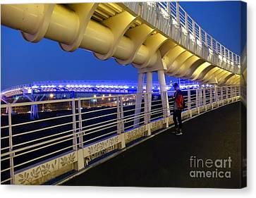 Canvas Print featuring the photograph Modern Bicycle Overpass By Night by Yali Shi